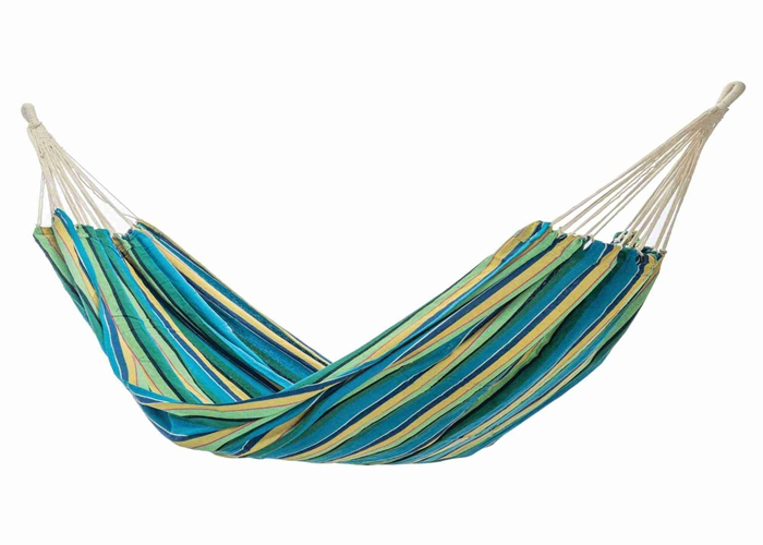 Comfortable Two Person Brazilian Double Hammock Camping Yellow Blue Green Stripe