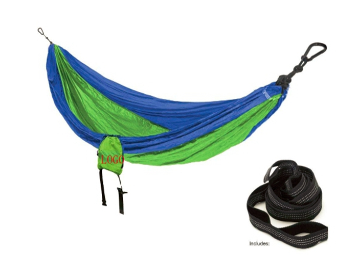 Blue Green Parachute Nylon Hammock With Suspension System Backpack 114 Inches