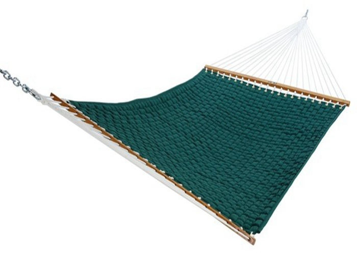 Outdoor Solution Dyed All Weather Green Soft Weave Hammock Comfort With Solid Woodbar