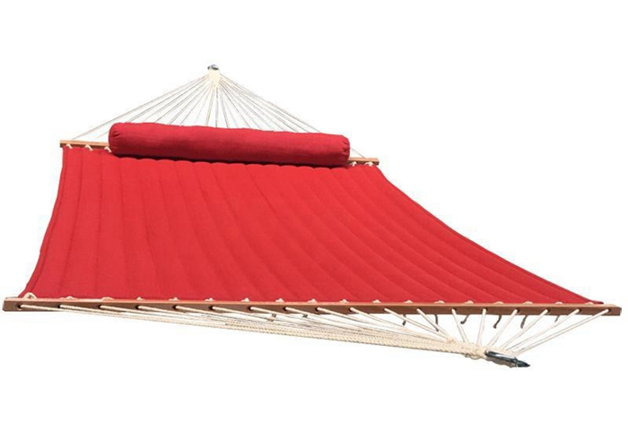 13 Foot Quilted Fabric Hammock , Island Red Mildew Resistant Hammock For 2