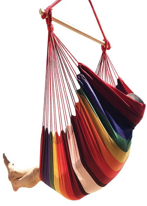 Large Single Person Garden Swing Brazilian Style Hammock Chair Poly Cotton Weave